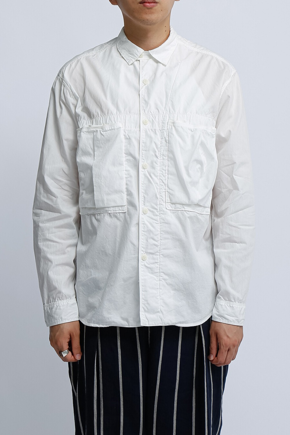 BROAD CLOTH ANORAK SHIRT(EK-739) WHITE