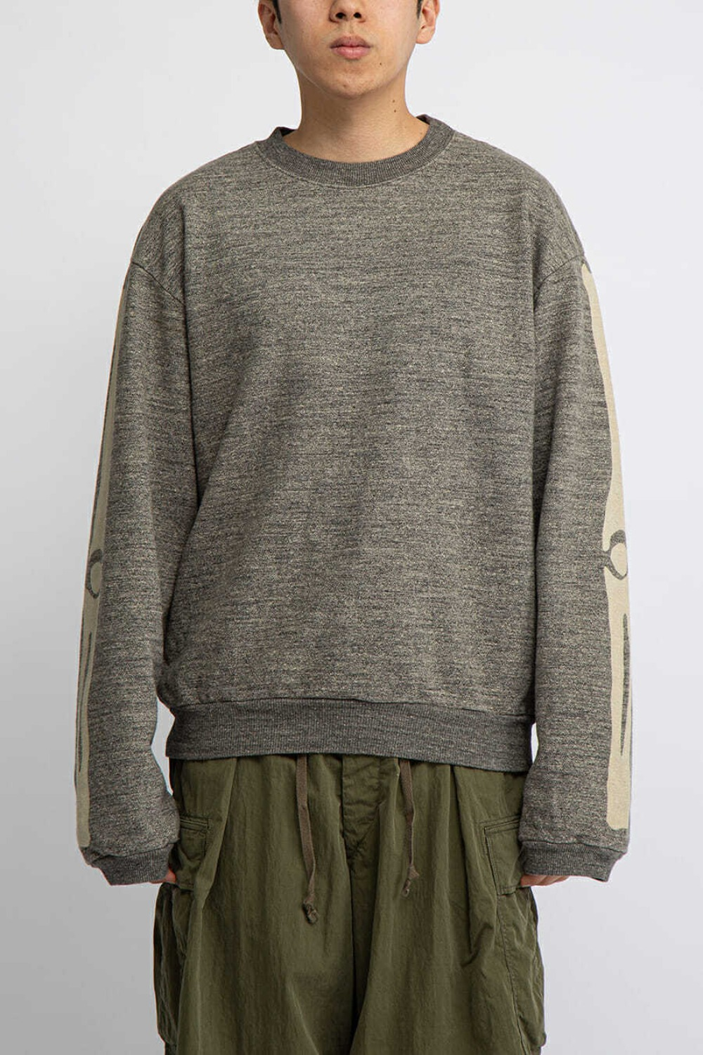 GRANDRELLE FLEECE KNIT BIG CREW SWT(BONE) CHARCOAL