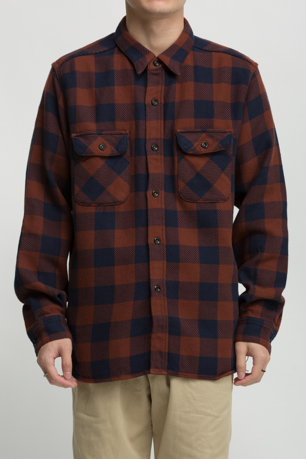 8HU BUFFALO CHECK FLANNEL SHIRT CRIMSON/NAVY