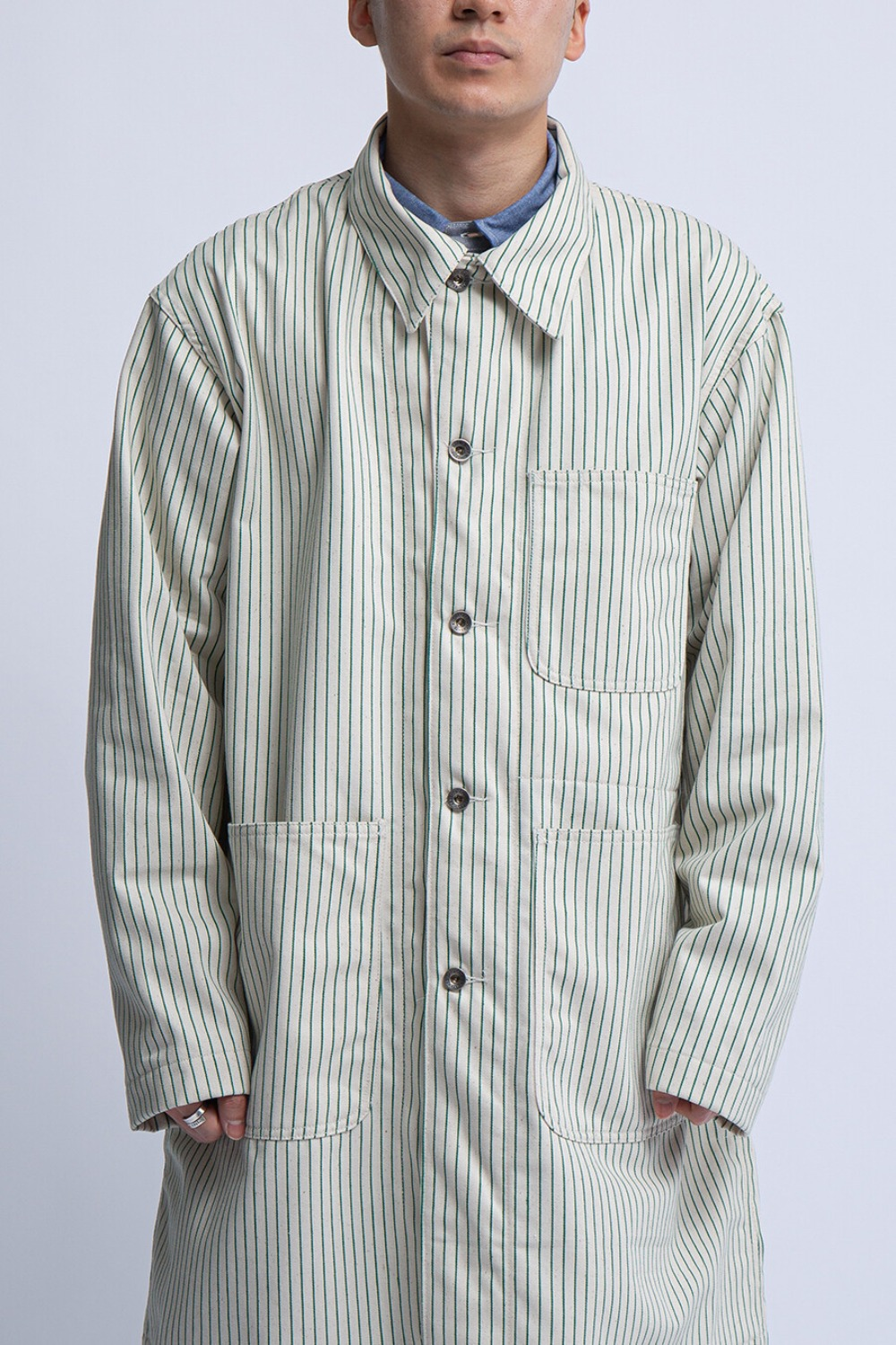 SHOP COAT NATURAL GREEN UNIFORM STRIPE