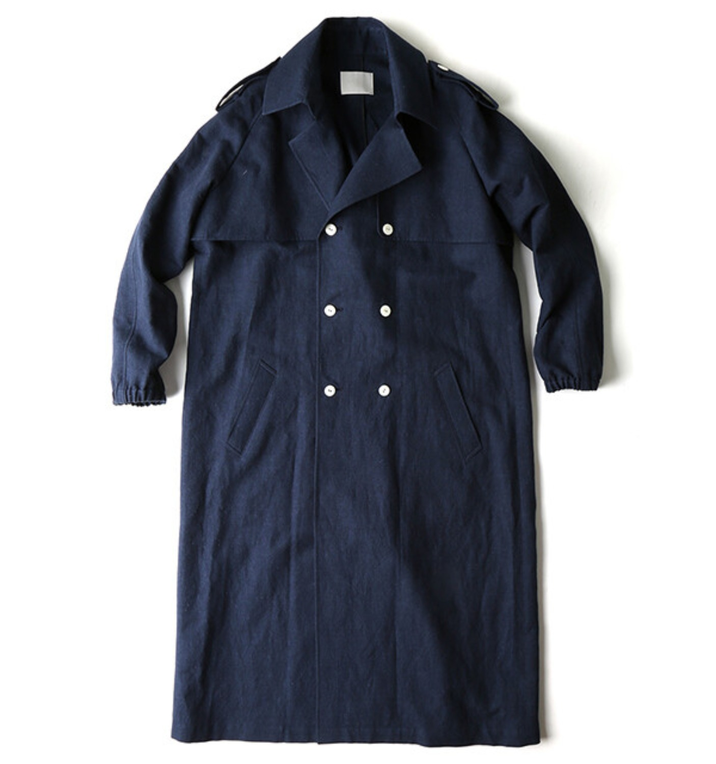 OVERSIZED TRENCH COAT INDIGO LINEN COTTON