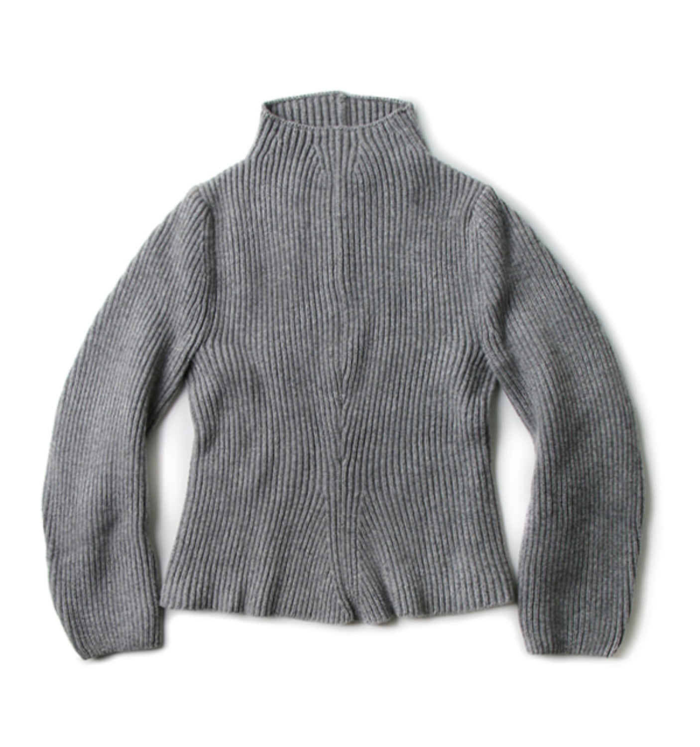 K1205 rounded sleeve chunky turtleneck LIGHT GREY