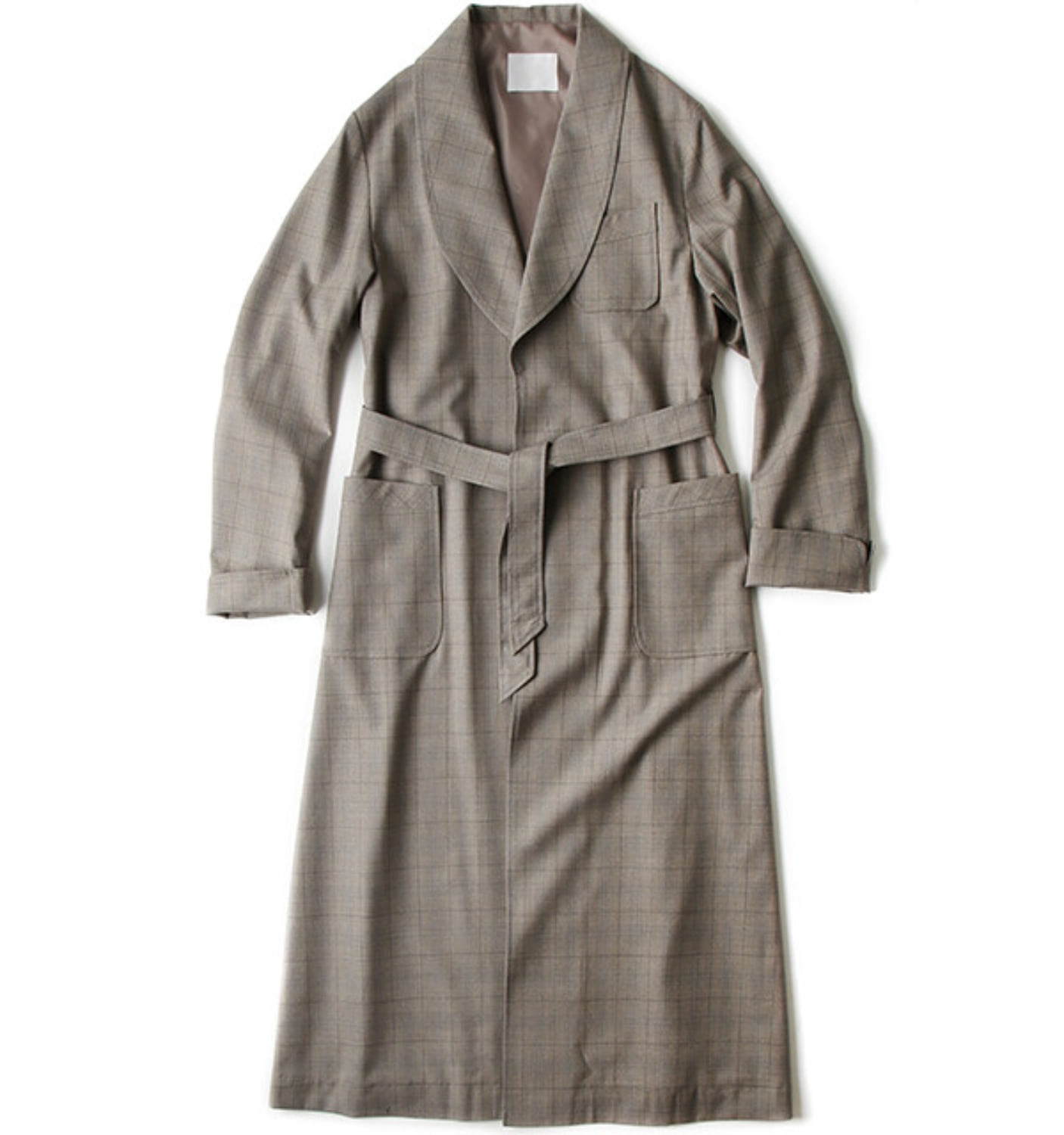 RELAXED ROBE COAT KHAKI BLUE CHECK