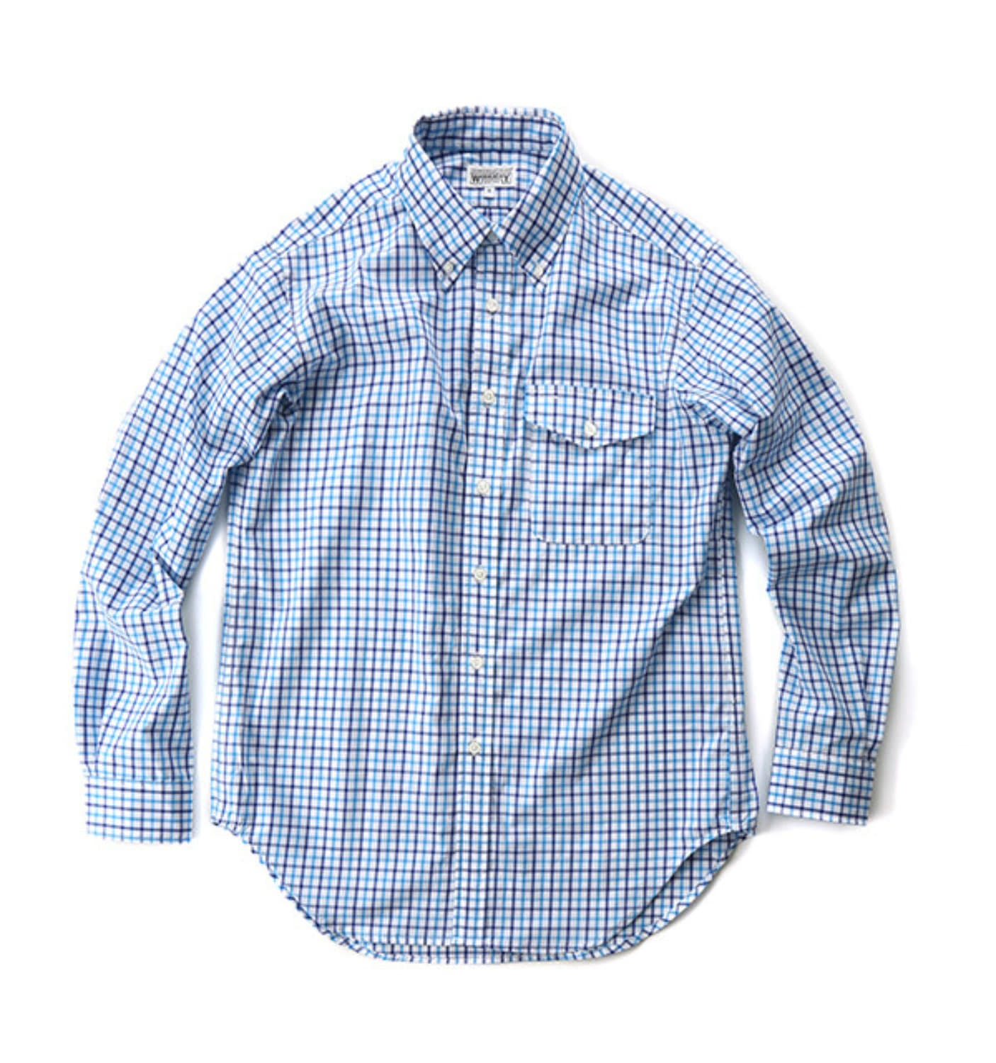 BLUE/LT.BLUE COTTON GRAPH CHECK BD SHIRT