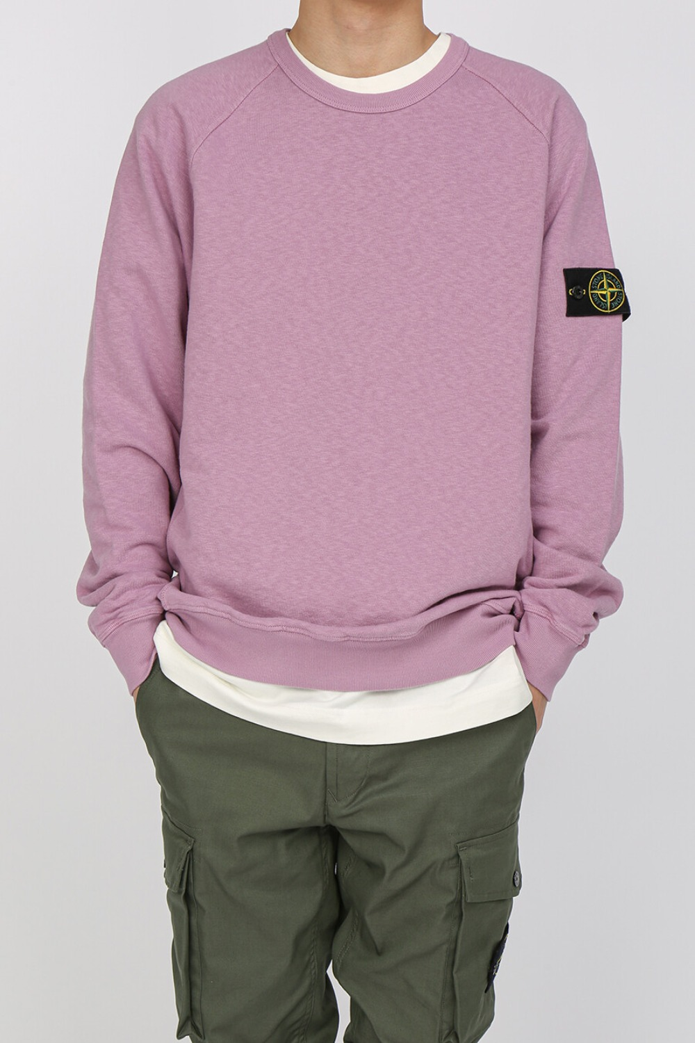 OLD EFFECT BRUSHED COTTON SWEATSHIRT PINK
