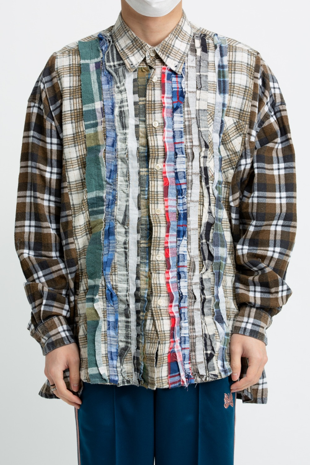 (FRE-2)REBUILD BY NEEDLES FLANNEL SHIRT - RIBBON WIDE SHIRT ASSORTED