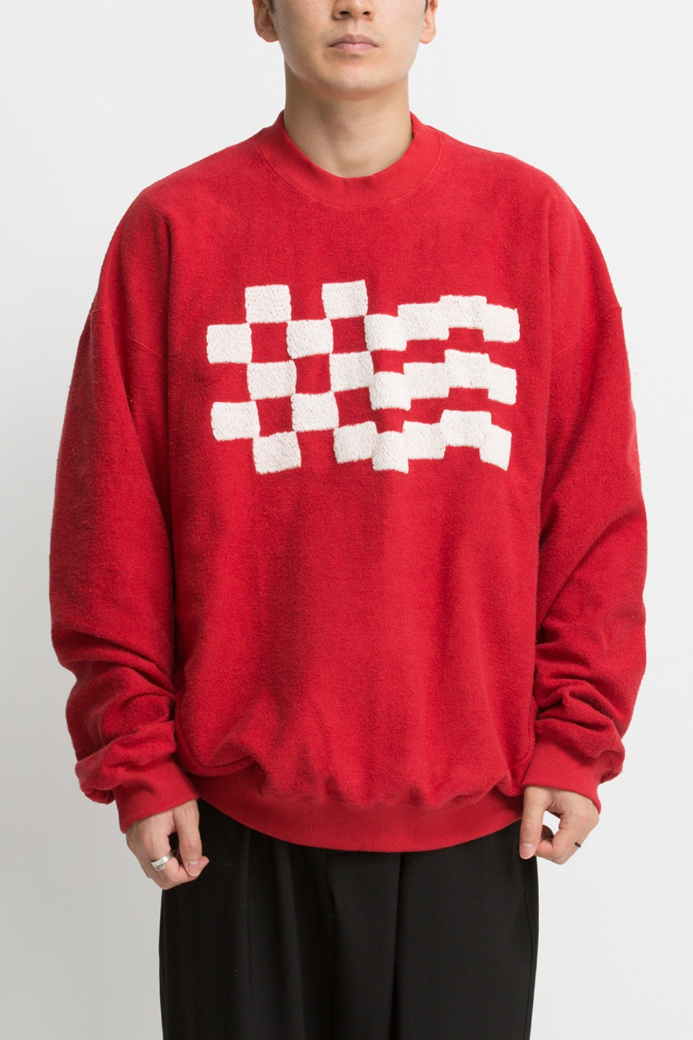 CHECKER EMB. SWEAT RED