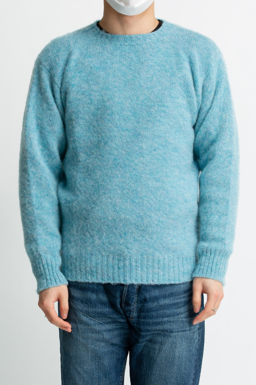 SHAGGY DOG CREW NECK SWEATER DUCK EGG