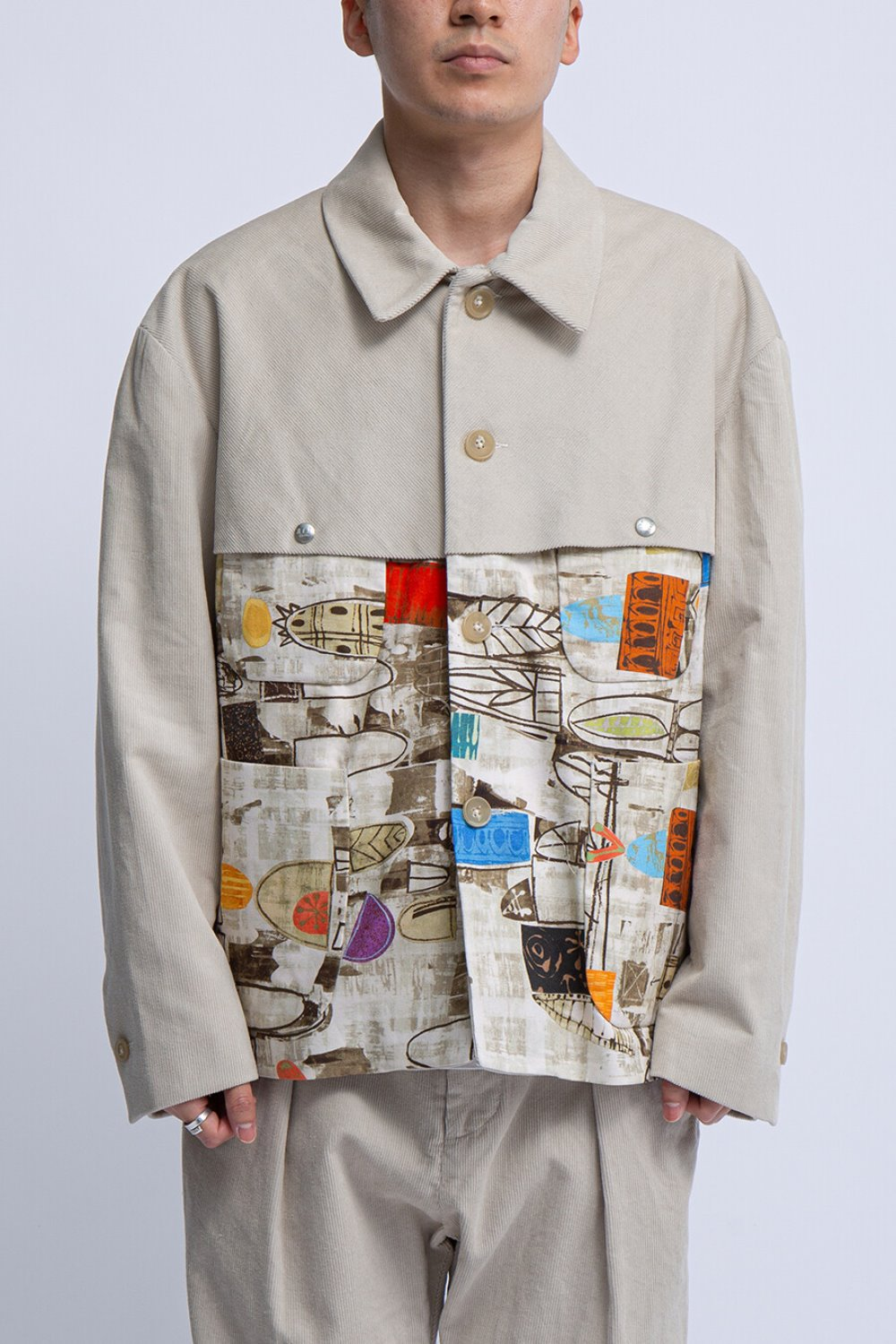 THT JACKET NATURAL ABSTRACT PRINT