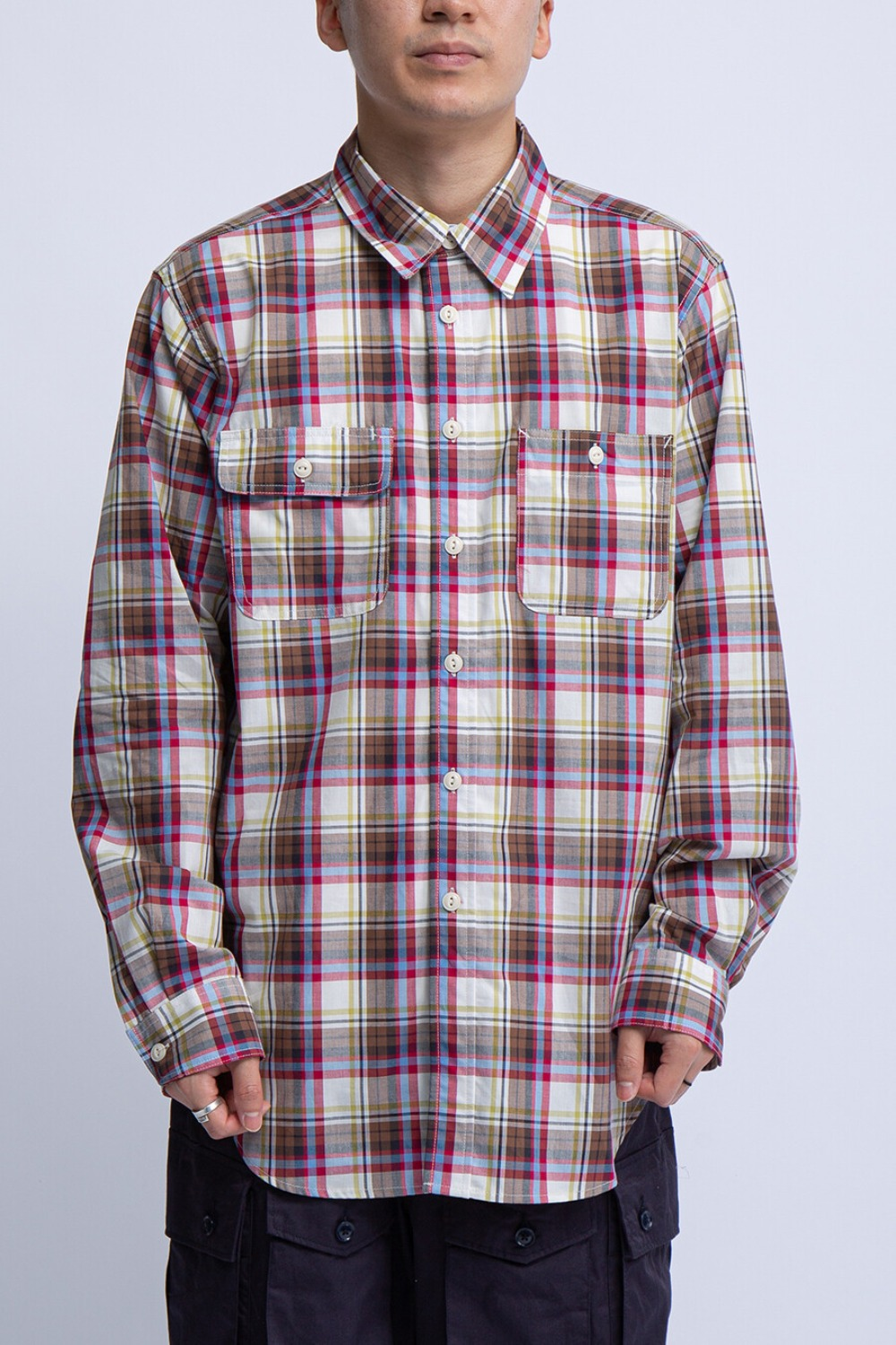 UTILITY SHIRT NATURAL BROWN RED COTTON