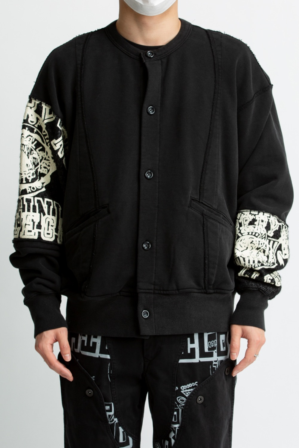 RAW EDGE COLLEGE CARDIGAN BLACK
