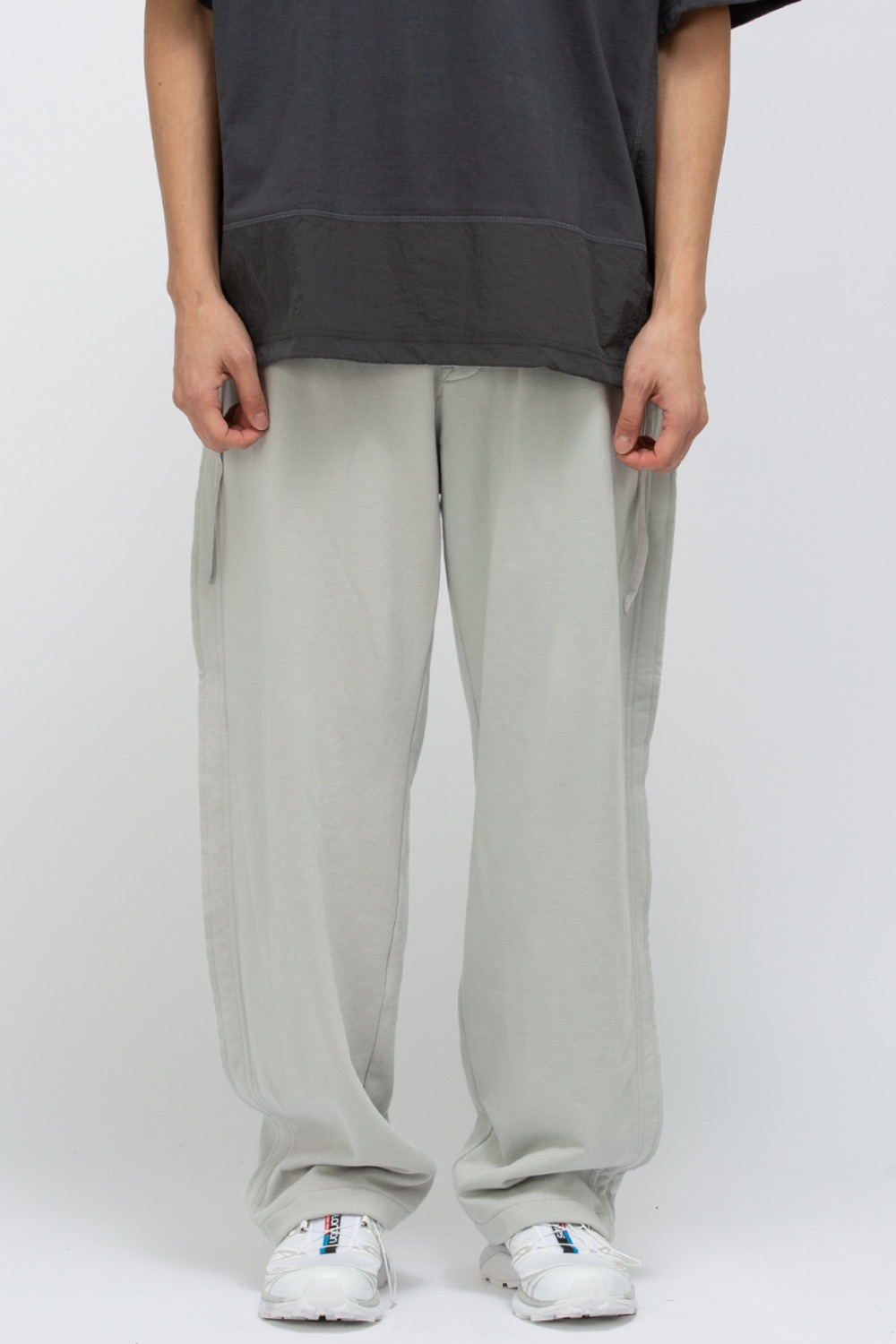 RAW EDGED CUT PANTS LIGHT GREY