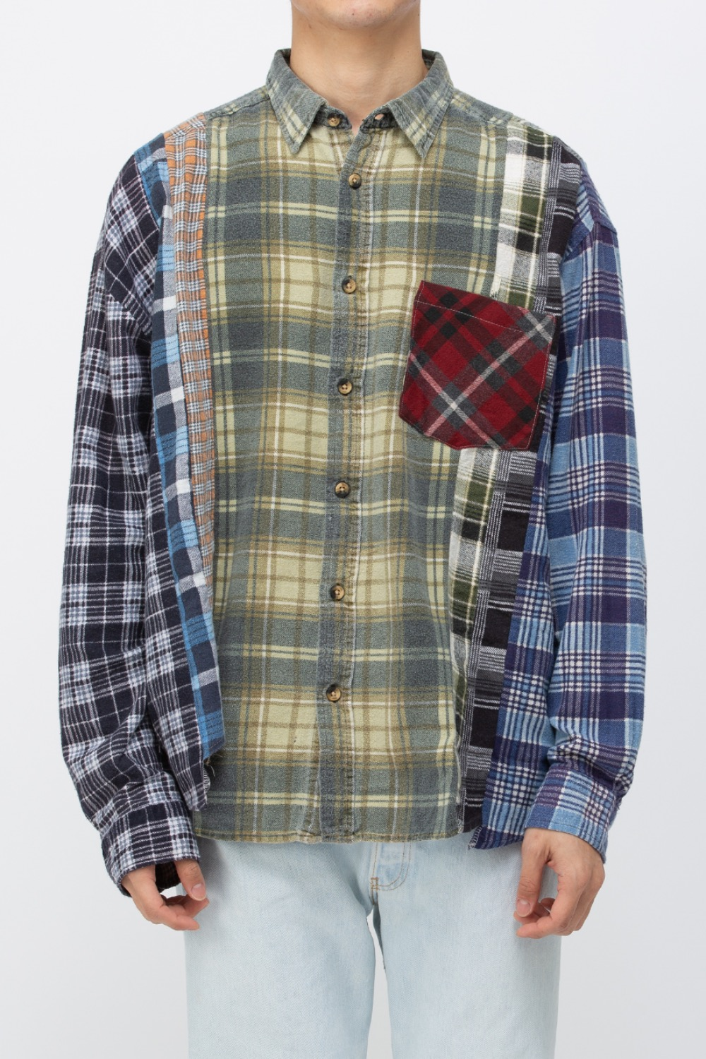 (WIDE-1)REBUILD BY NEEDLES FLANNEL SHIRT - 7CUTS WIDE SHIRT