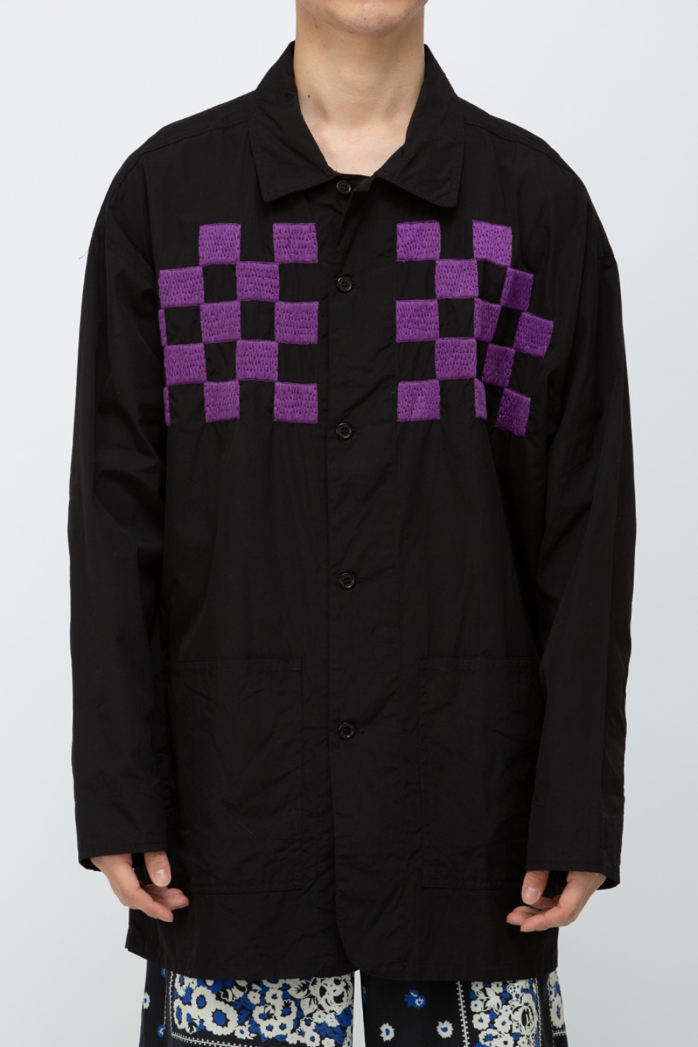 CHECKER EMB. BLOUSON BLACK