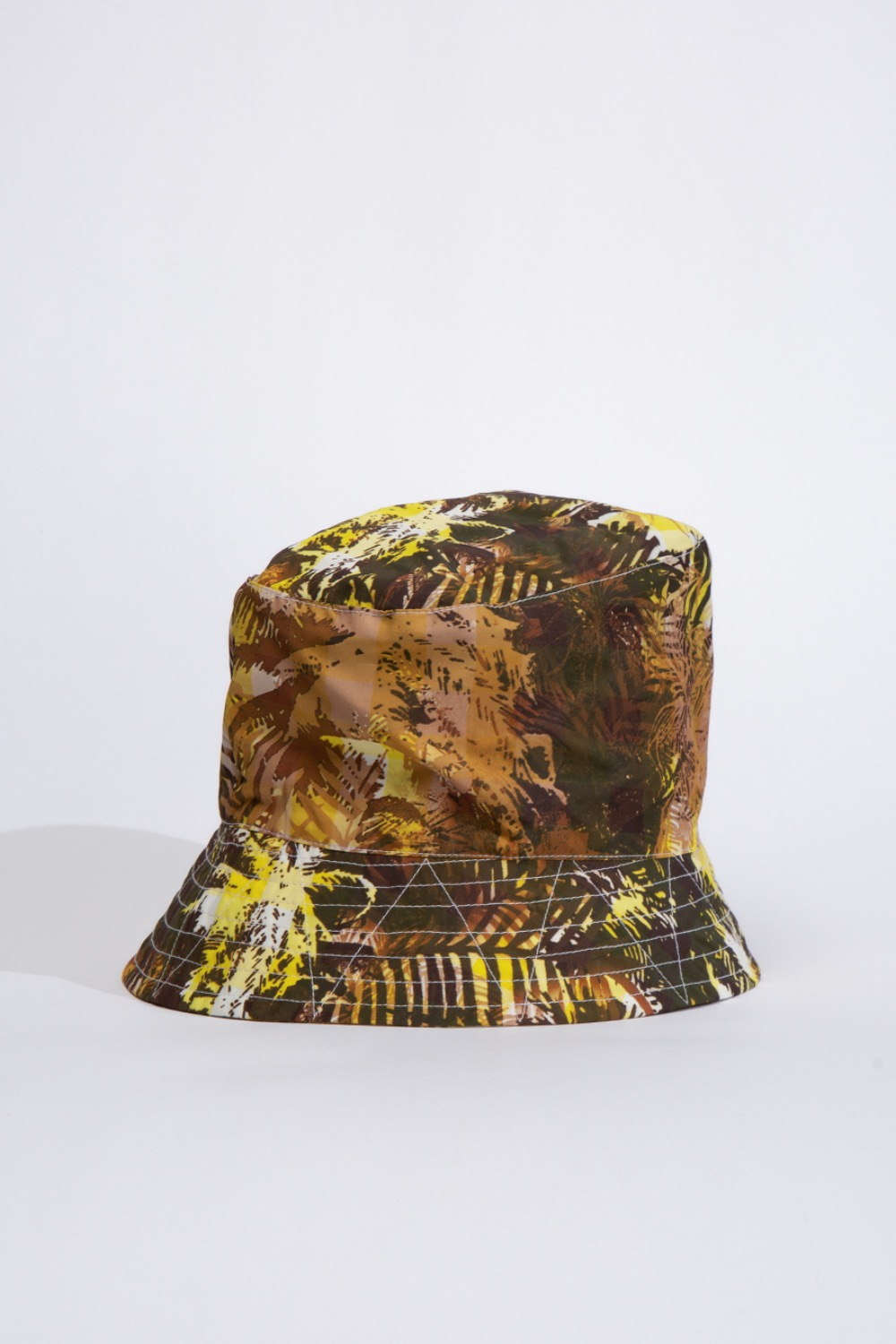 BUCKET HAT YELLOW NYLON POLYESTER TROPICAL FLORAL PRINT