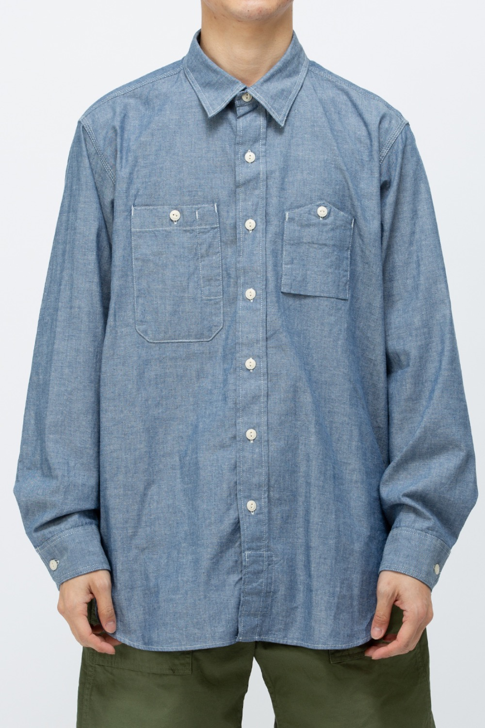WORK SHIRT BLUE COTTON CHAMBRAY