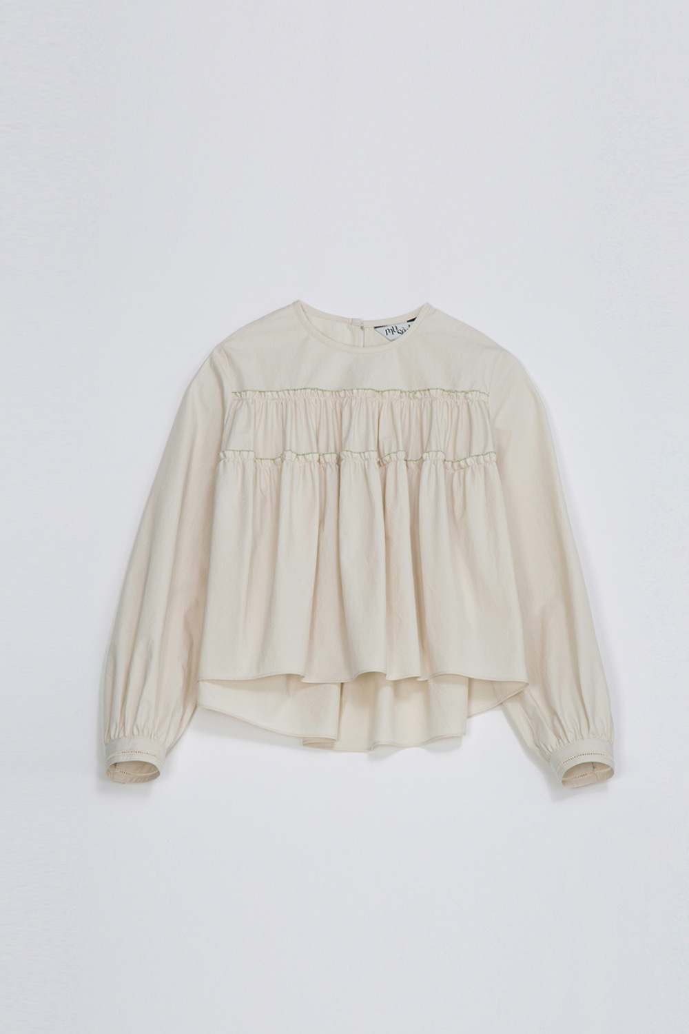 AGREABLE TIERD BLOUSE -IVORY COTTON