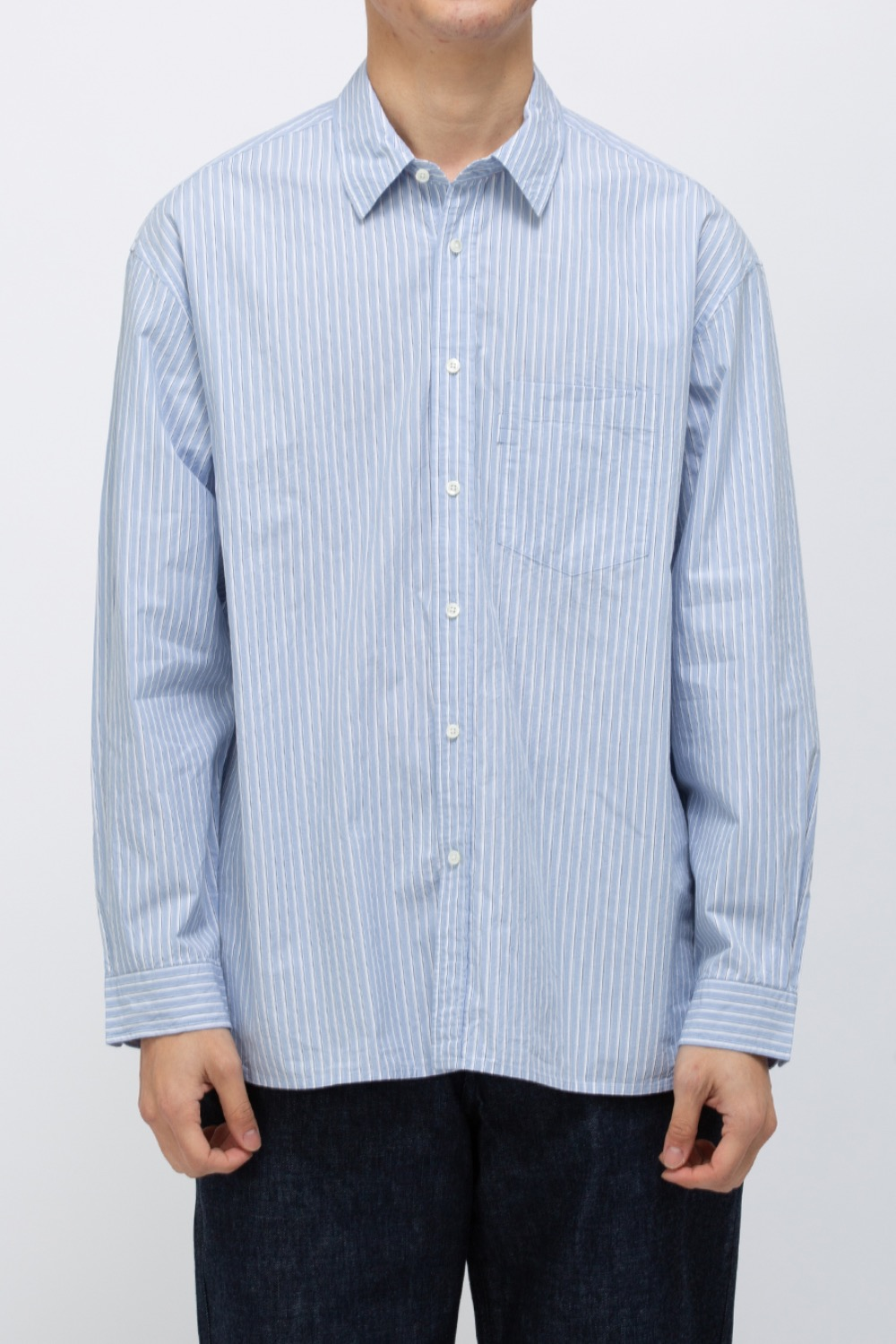 COMFORT SHIRT SUPERIOR ORGANIC COTTON TYPEWRITER STRIPE WASHER FINISH