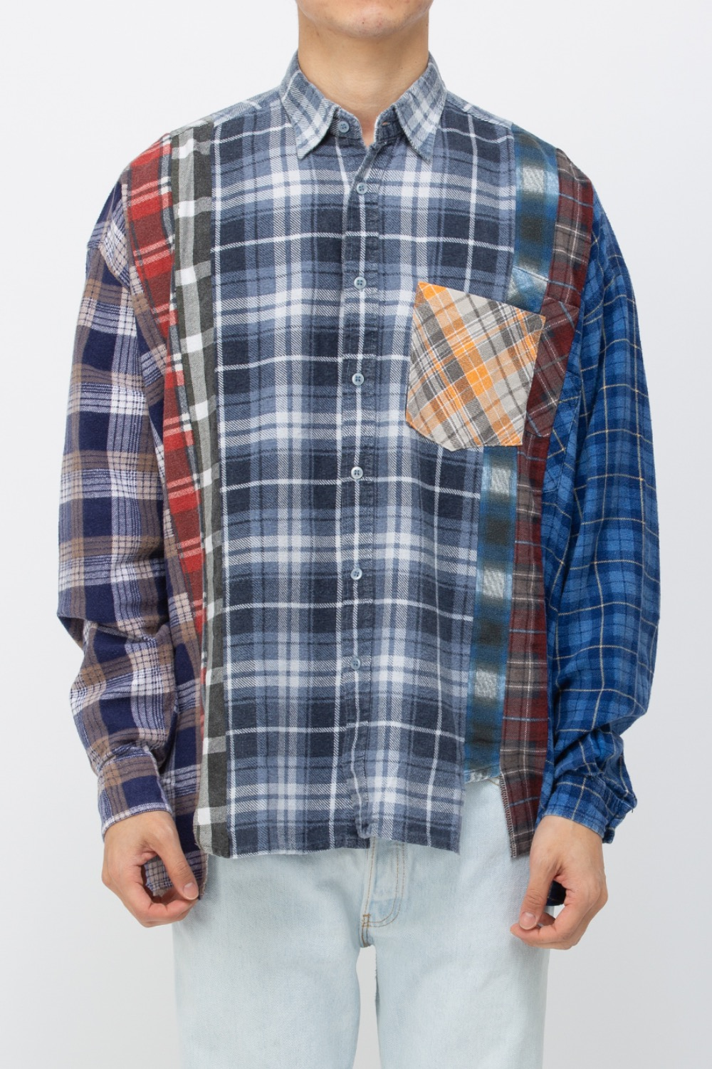 (WIDE-9)REBUILD BY NEEDLES FLANNEL SHIRT - 7CUTS WIDE SHIRT