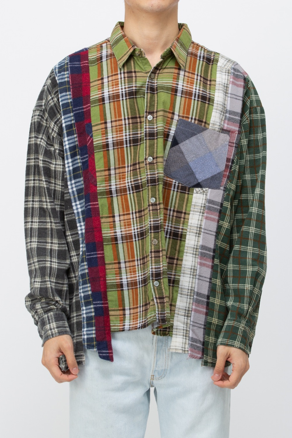 (WIDE-2)REBUILD BY NEEDLES FLANNEL SHIRT - 7CUTS WIDE SHIRT