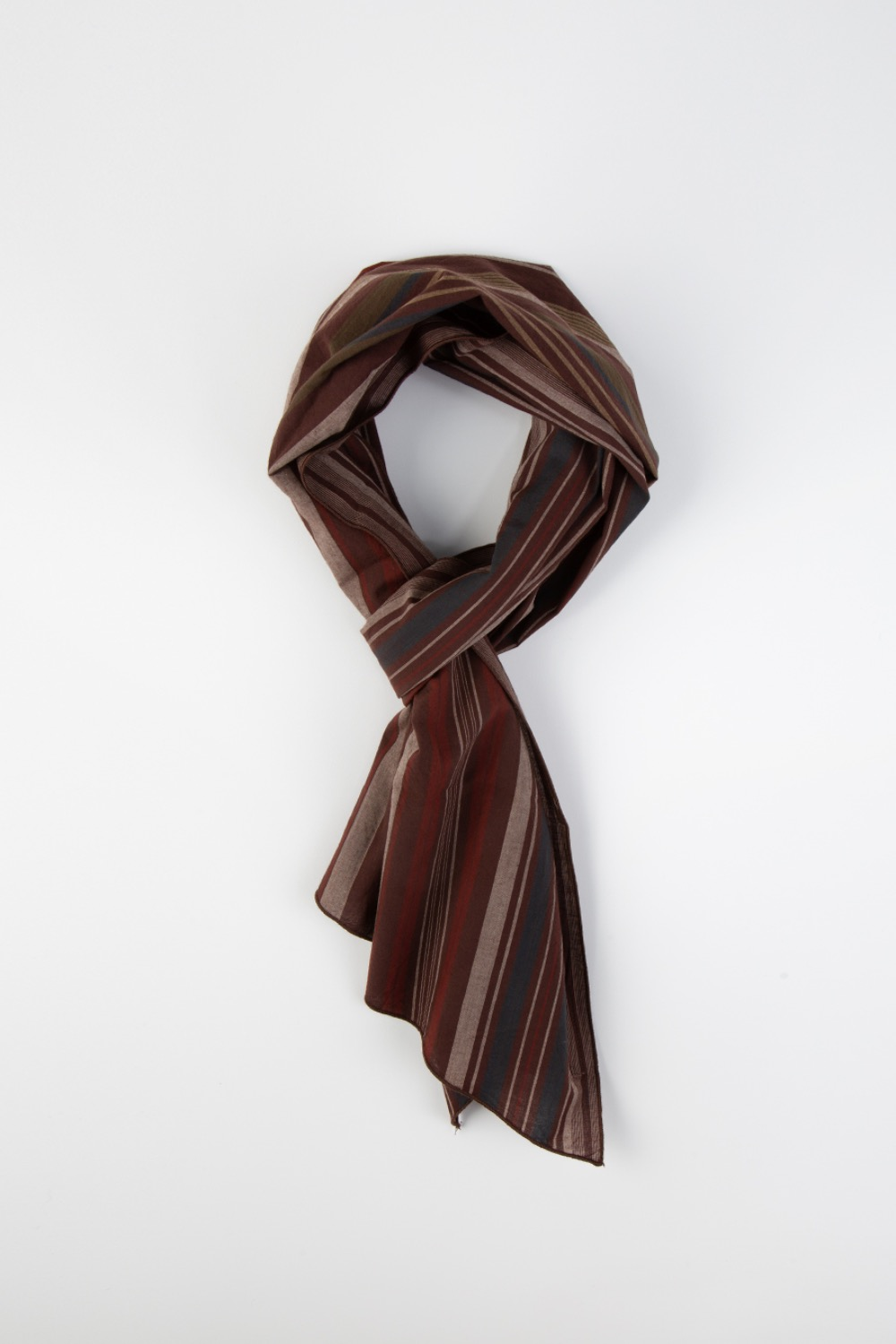 LONG SCARF BROWN COTTON VARIEGATED STRIPE