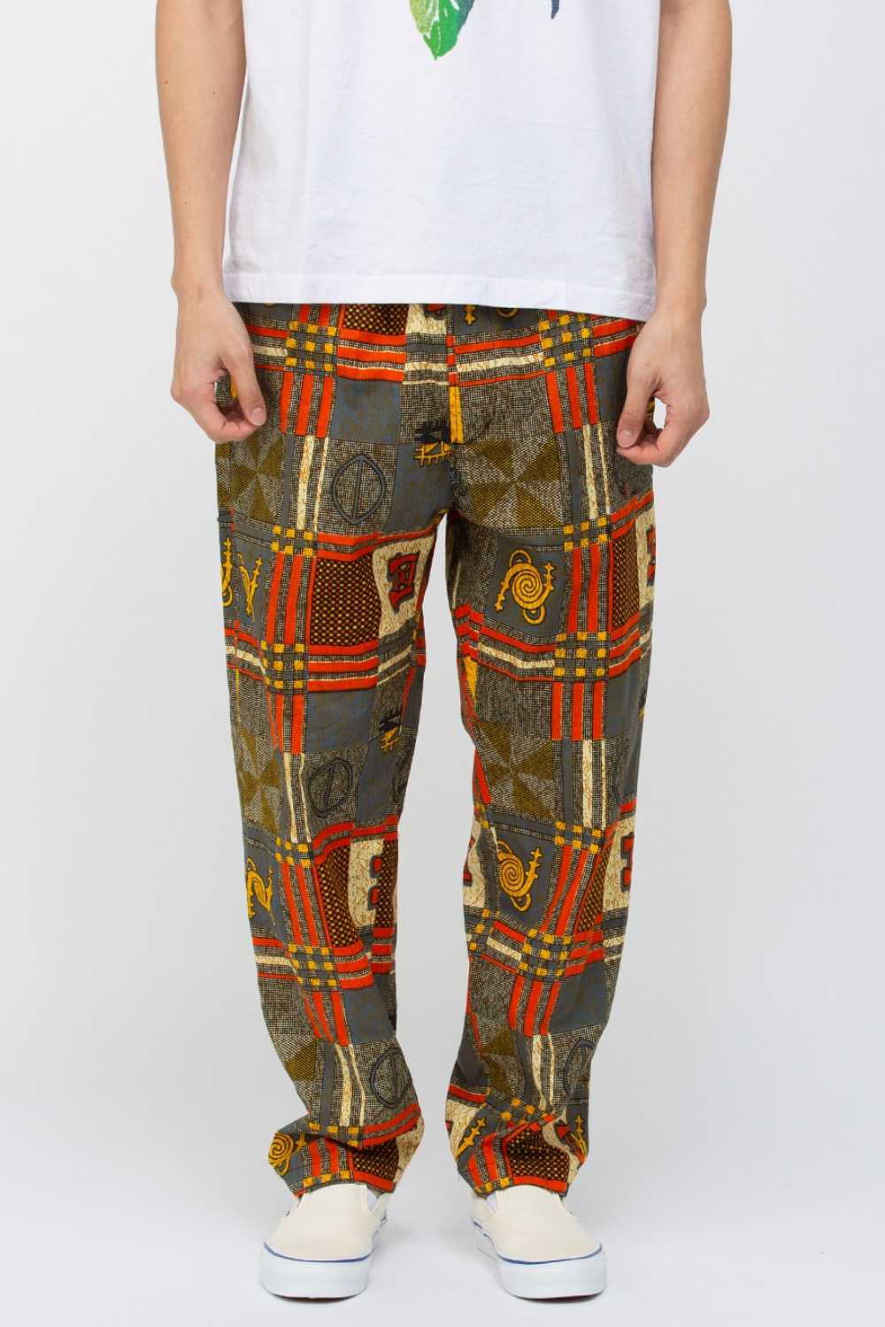 DRAWSTRING PANT BLACK GOLD COTTON AFRICAN PRINT