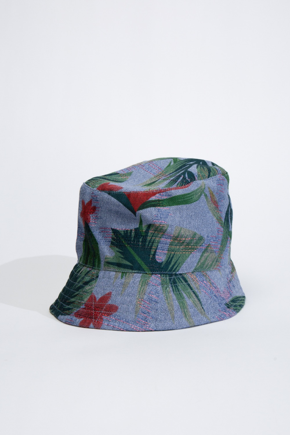 BUCKET HAT LIGHT BLUE POLYESTER BIG FLORAL PRINT