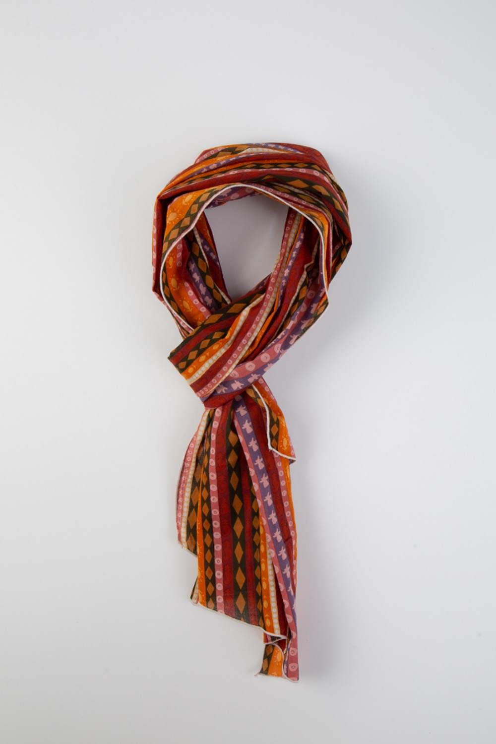 LONG SCARF ORANGE COTTON LAWN BATIK STRIPE