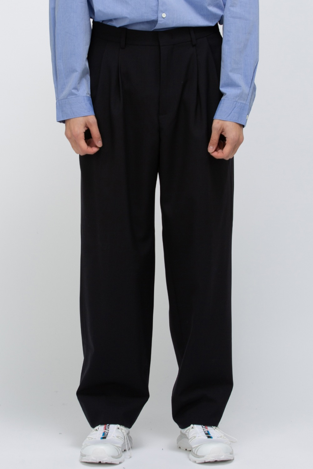 WOOL TWO PLEATED WIDE PANTS FINE WOOL AIR FORCE FINISH