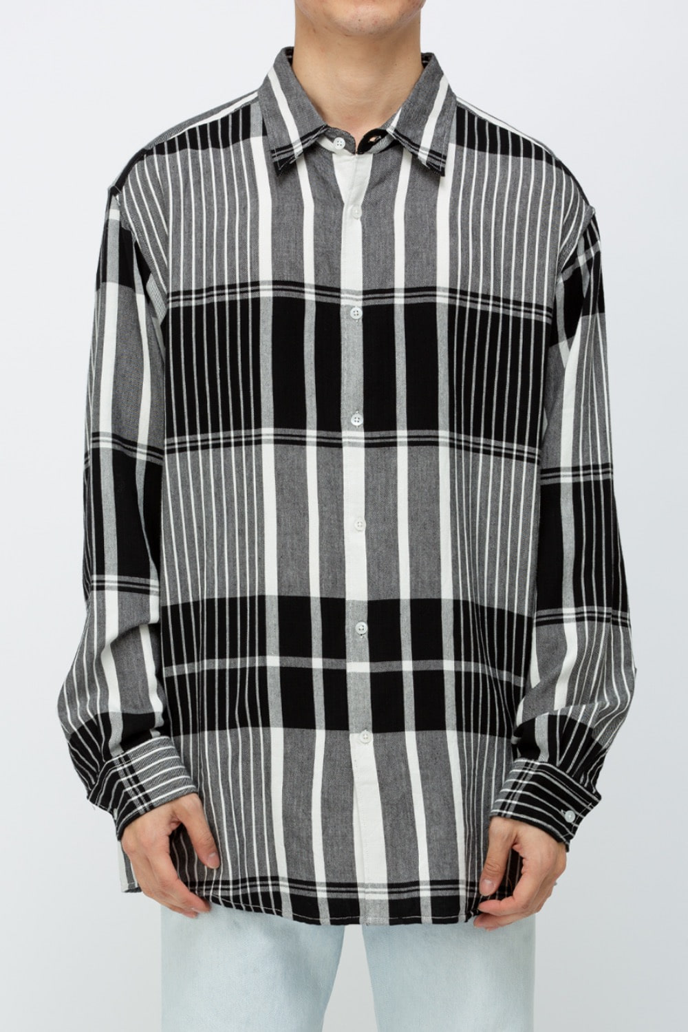 N PLAID SHIRT BLACK/WHITE