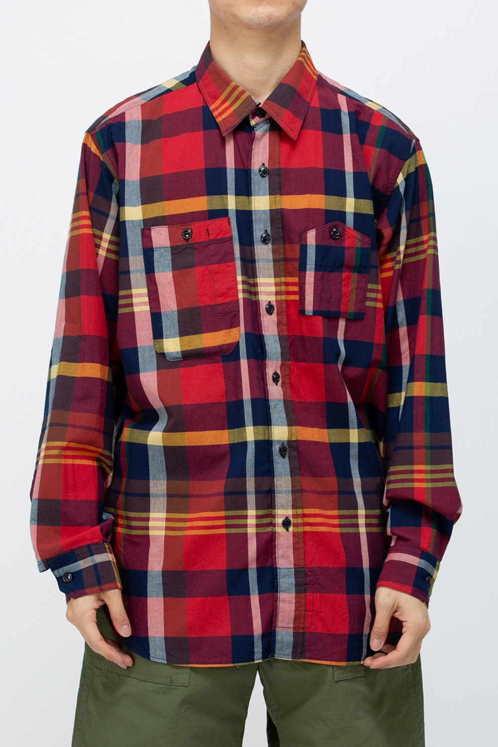 WORK SHIRT COTTON BIG MADRAS PLAID RED/NAVY