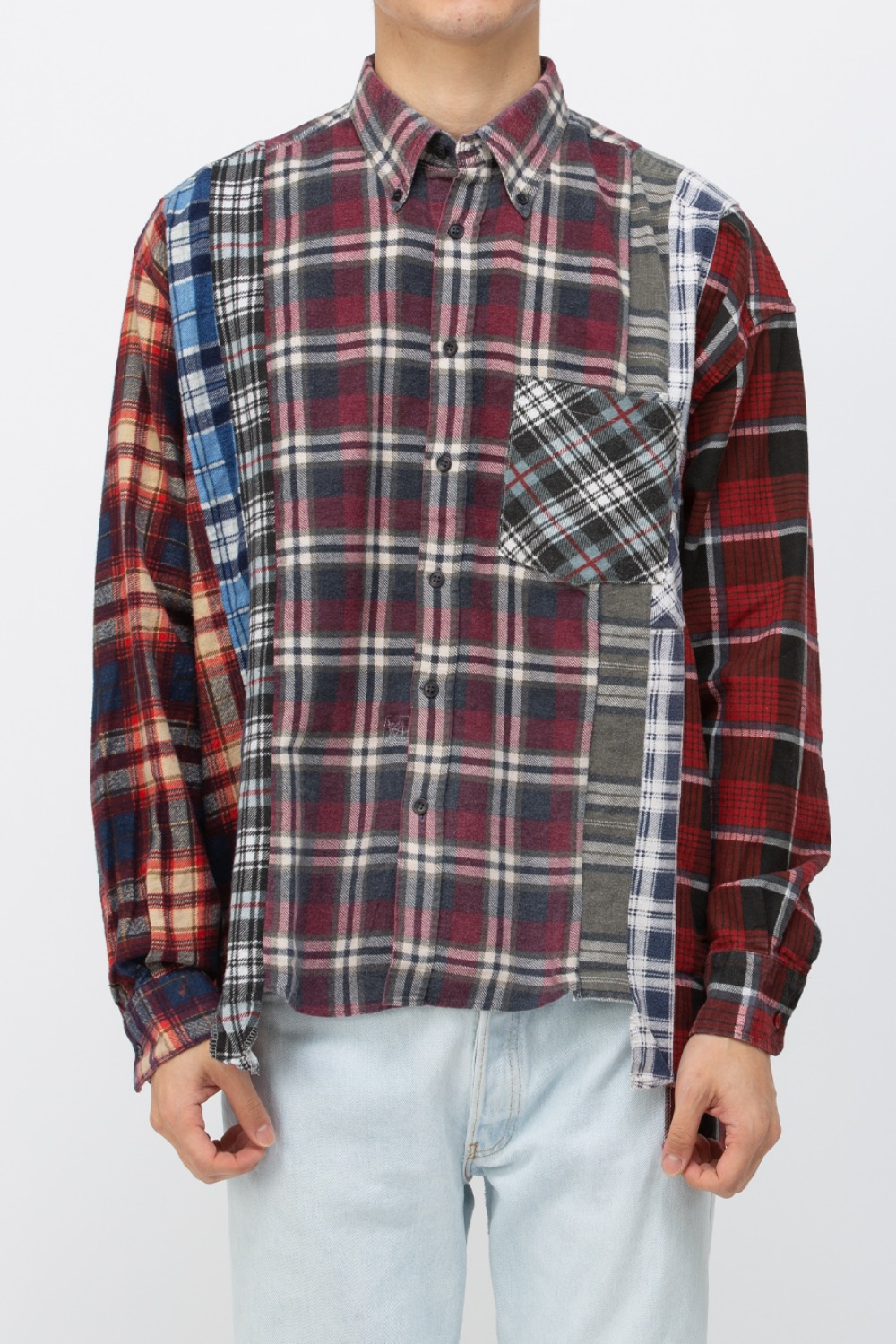 (WIDE-10)REBUILD BY NEEDLES FLANNEL SHIRT - 7CUTS WIDE SHIRT