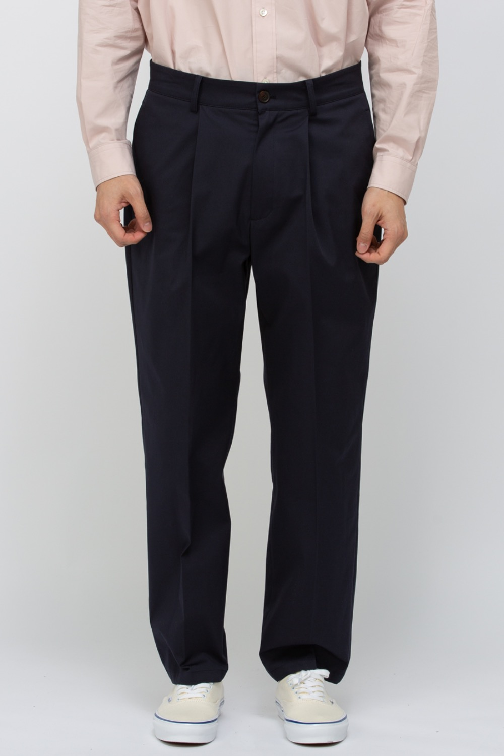 SUPIMA COTTON TAPERED PANTS NAVY