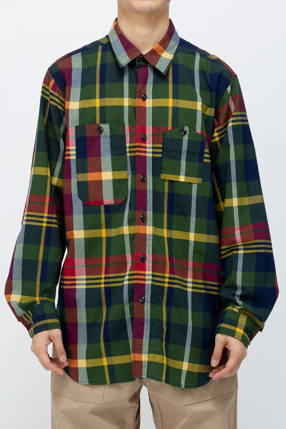 WORK SHIRT COTTON BIG MADRAS PLAID GREEN/NAVY
