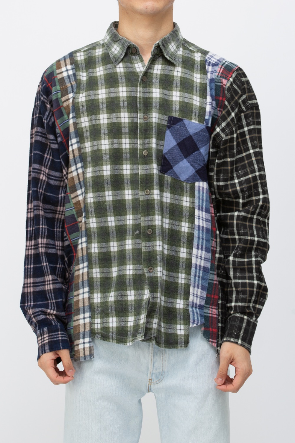 (WIDE-4)REBUILD BY NEEDLES FLANNEL SHIRT - 7CUTS WIDE SHIRT
