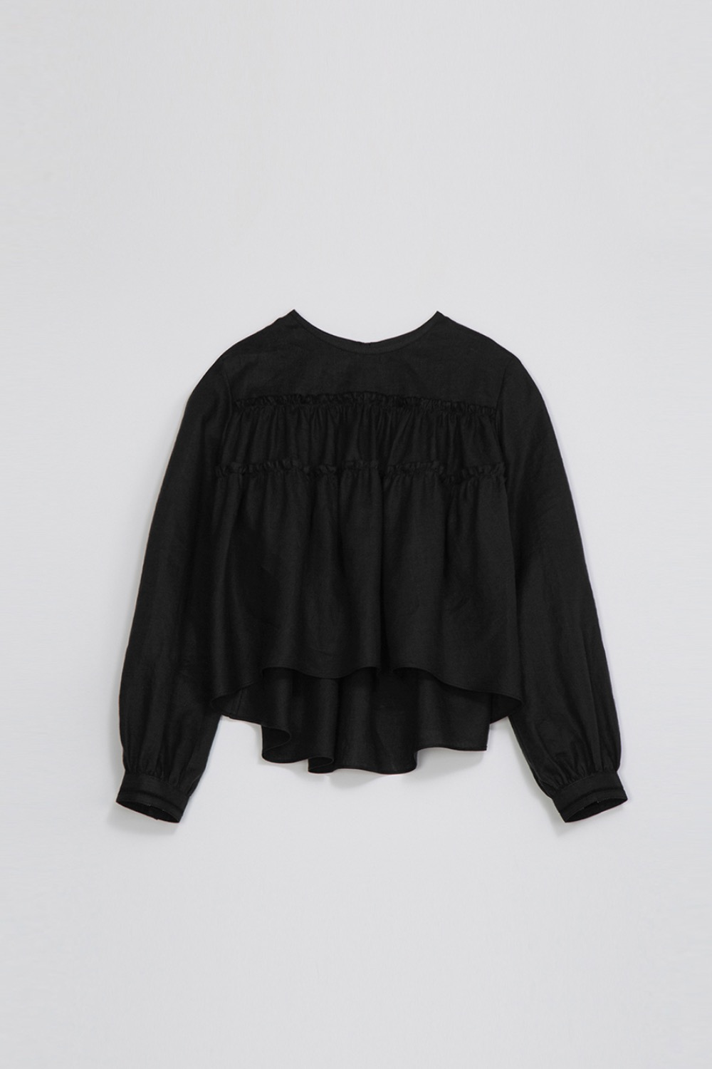 AGREABLE TIERD BLOUSE -BLACK LINEN