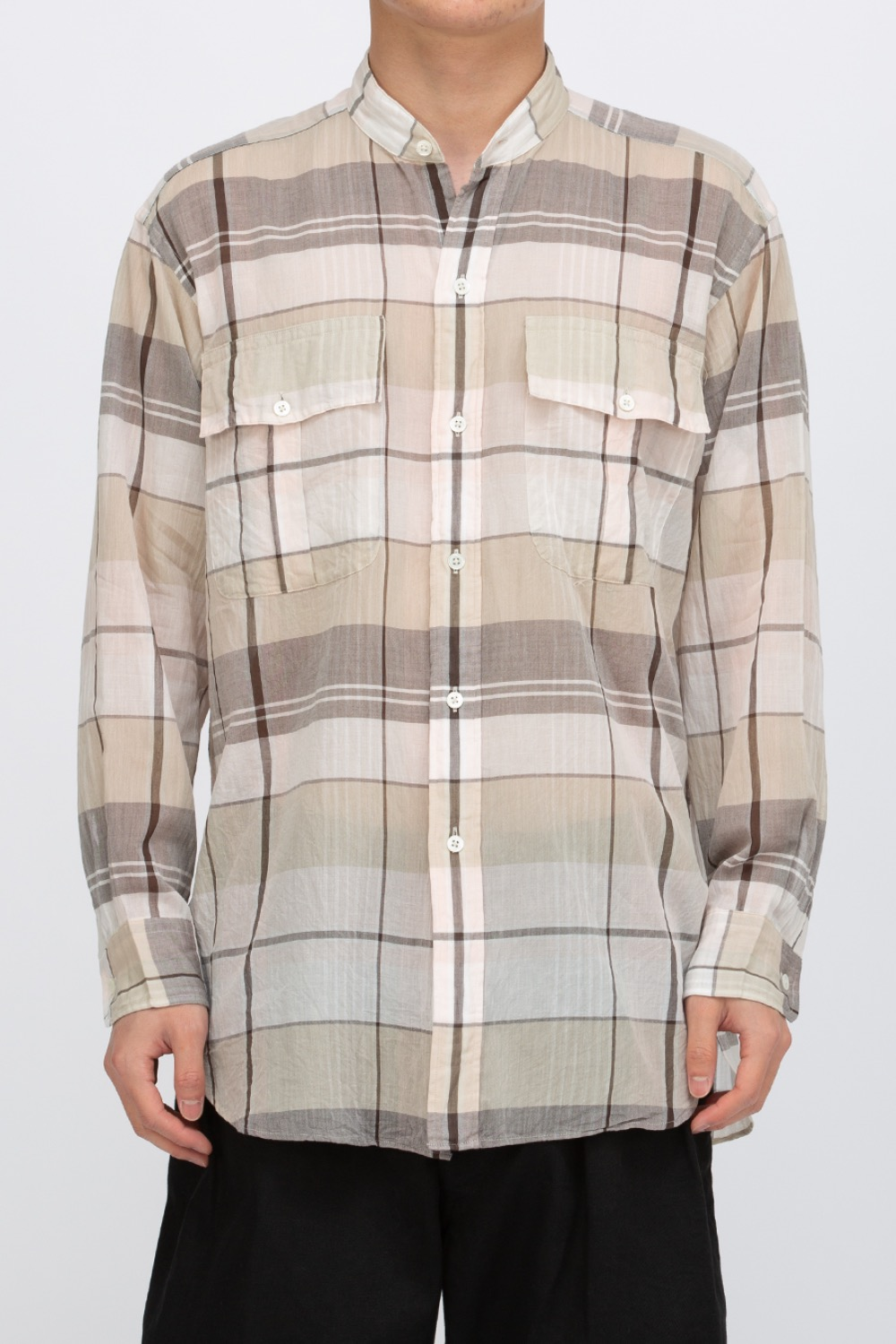 STAND COLLAR SAFARI SHIRT