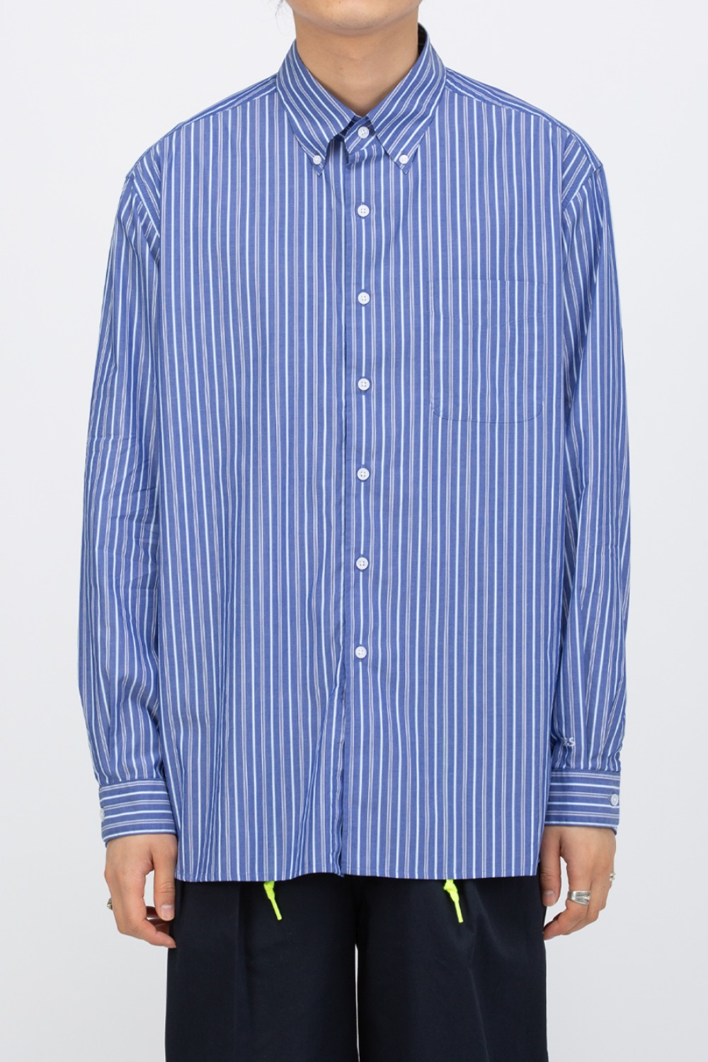 OVERCAST X SCULP_BIG SHIRT BLUE STRIPE