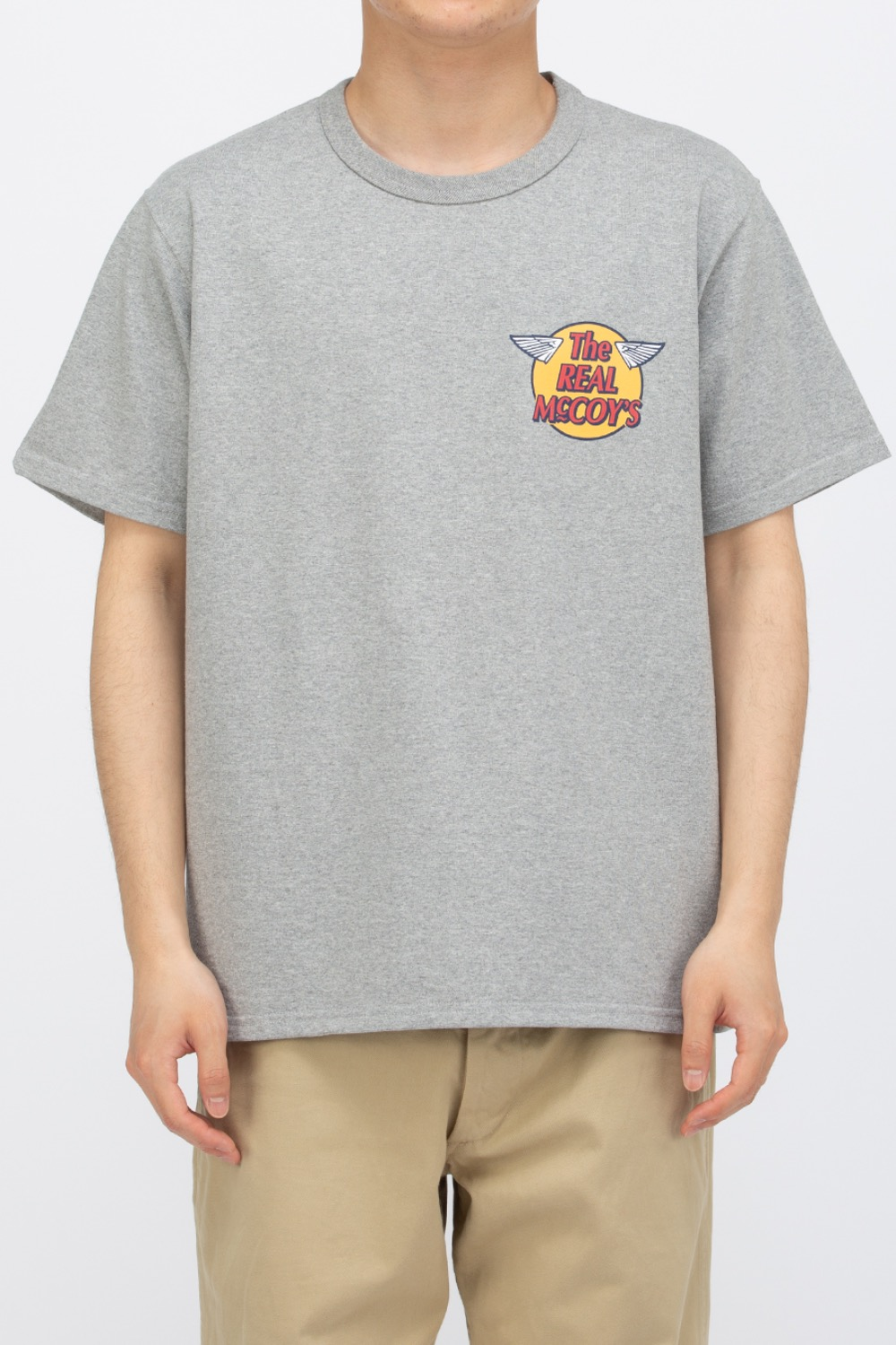 THE REAL MCCOY'S LOGO TEE S/S GREY