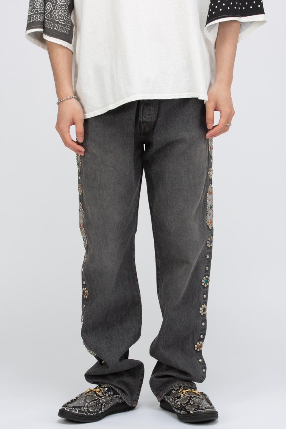 14OZ BLK DENIM 5P MONKEY CISCO(STUDS)